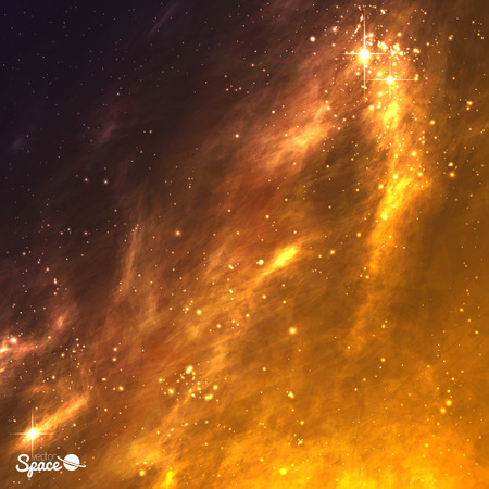 Golden galaxy background. Space nebula. Vector illustration