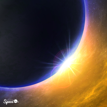 point of view: Planet in space. Sunrise from space point of view. Vector illustration