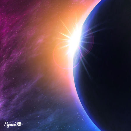 Planet in space. Sunrise from space point of view. Vector illustration