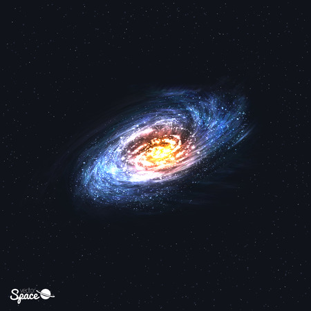 Colorful Realistic Spiral Galaxy on Space Background. Vector illustration