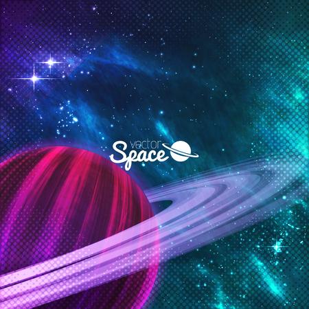 galaxie: Planet mit Ringen auf bunten Galaxie Hintergrund mit sturdust und Nebel. Vektor-Illustration