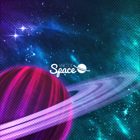 Planet with rings on colorful galaxy background with sturdust and nebula. Vector illustration