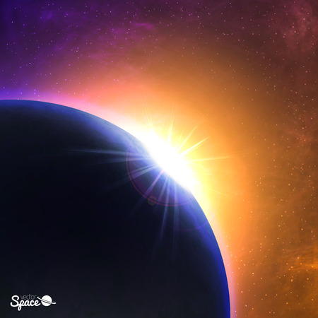Vector sunrise over the planet. Beautiful dawn from space point of view. Cosmic background