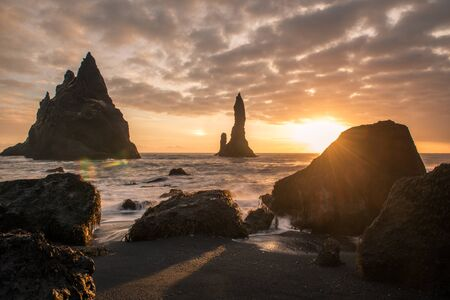 Rock formations on the shore in Iceland