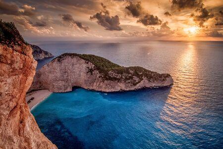 Sunset at the shipwreck at Navagio Zakynthos Stock Photo