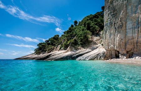 Beautiful clear blue water in Zakynthos Island Greece