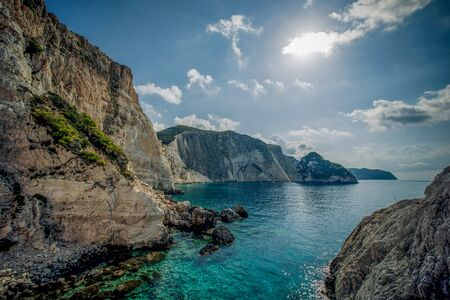a view of the water and cliffs at agalas in zakynthos Stock Photo