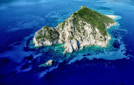 an aerial view of marathonisi in zakynthos
