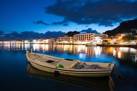 a night shot of zakynthos harbour