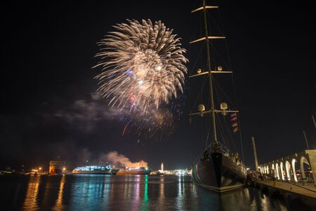 fireworks in the harbour of zakynthos