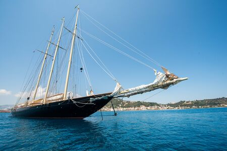 A yacht outside of the harbour of zakynthos Editorial