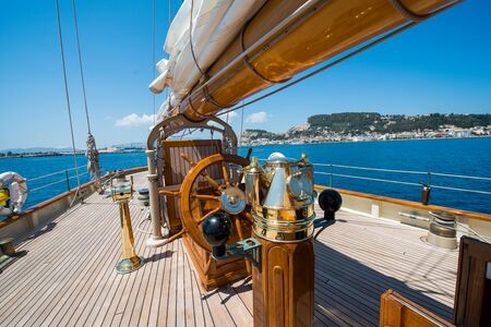 Aboard a yacht on the ionian sea Stock Photo