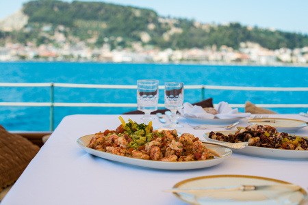 lunch about to be served aboard a yacht outside of zakynthos