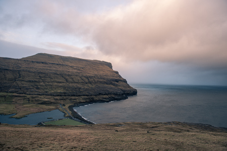 a lonely football field in the faroe islands
