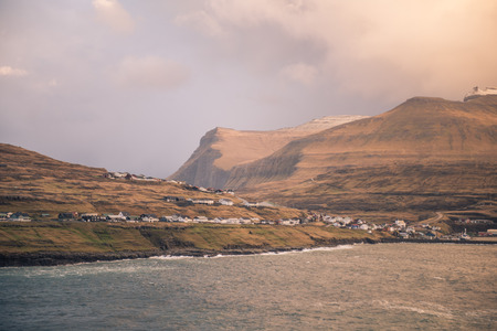 The town of eidi in the faroe islands Stok Fotoğraf