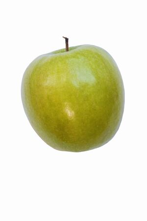 granny smith: Granny Smith apple (Malus domestica Granny Smith). Hybrid between Malus domestica and Malus sylvestris. Image of single apple isolated on white background