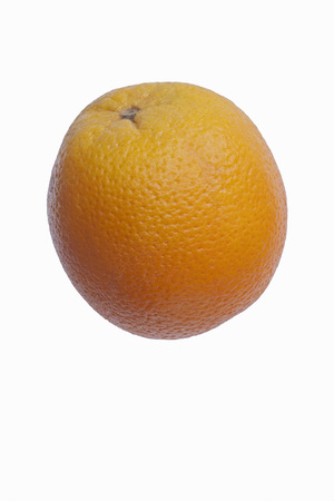 Valencia orange (Citrus x sinensis Valencia). Hybrid between Citrus maxima (Pomelo) and Citrus reticulata (Mandarin). Image of single fruit isolated on white background Stock Photo
