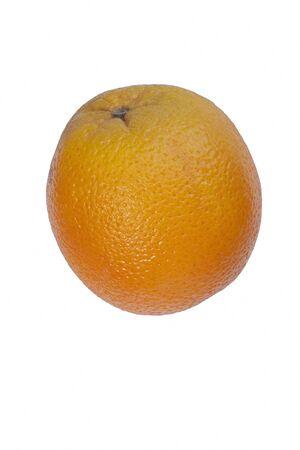 Valencia orange (Citrus x sinensis Valencia). Hybrid between Citrus maxima (Pomelo) and Citrus reticulata (Mandarin). Image of single fruit isolated on white background 版權商用圖片