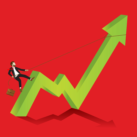 Businessman Climbing to up Trend of Stock exchange