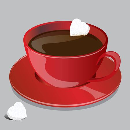 red cup: Coffee Red Cup with Cubes Heart Sugar shape, Concept idea Vector, Illustrator