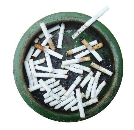 Dirty Ashtray full of cigarettes. Isolated on white. Stock Photo