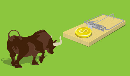 Bull Market Trap. Concept idea, vector, illustrator