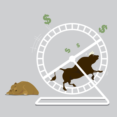 Bull & Bear Tired to running in a hamster wheel for Stock Exchange, vector illustration