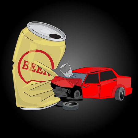 Car crash with Beer can. Dont Drink and drive concept - vector illustrator