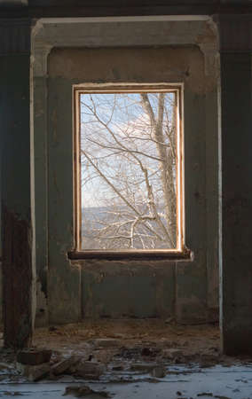 view from the window in the old abandoned building photo