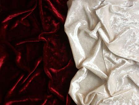 velvet background: wrinkled red and white velvet background Stock Photo