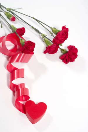 plastic heart: il cuore rosso di plastica e nastro ritorto garofano su sfondo bianco con copyspace