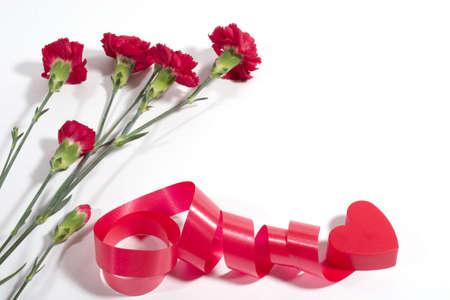 plastic heart: cuore rosso di plastica con nastro elicoidale e garofano su sfondo bianco con copyspace Archivio Fotografico