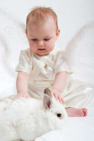 cute little girl dressed like fairy with fluffy wings plays with white rabbit Stock Photo - 716200
