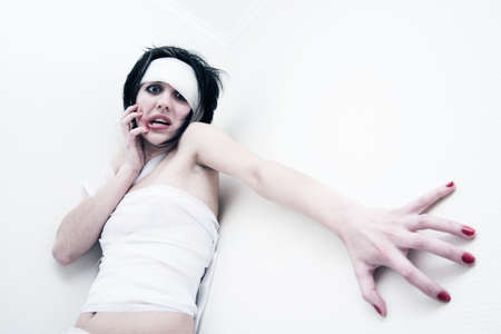 Young girl in bandage have headache and stress Stock Photo - 781154