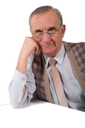 concentrated: Portrait of concentrated old man in glasses