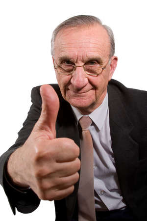 crinkles: Old happy businessman with glasses showing thumb up sign