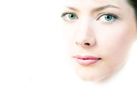 beautiful woman face on white background Stock Photo - 1477689