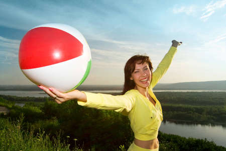 happy young beautiful girl with air ball Stock Photo - 1477829