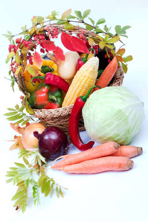 lots of fresh and ripe vegetables in the basket Stock Photo - 1639575