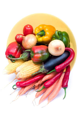 glut: lots of fresh and ripe vegetables on the plate