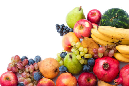 glut: lots of fresh and ripe fruits on white background with copy space Stock Photo