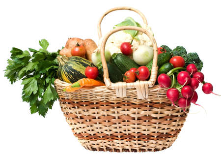glut: spring  fresh and ripe vegetables in the basket on white background