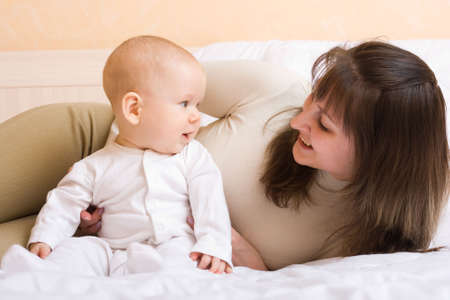 Mothers love. Cute baby 6 month with mother