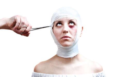 concussion: Surgery victim (medical concept). Special toned photo fx