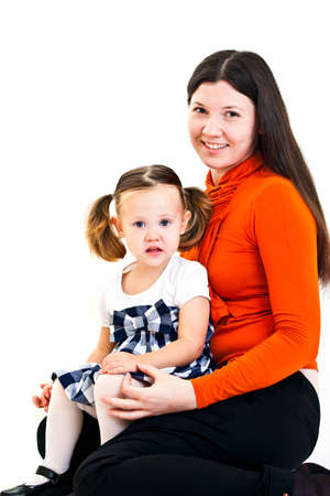 ponytails: Cute little girl with ponytails and her mother. Isolated on white