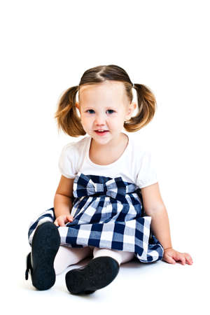 ponytails: Cute little girl with ponytails. Isolated on white