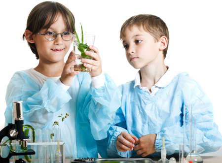 plant science: Two little boys doing biochemistry research at the lab. Isolated on white Stock Photo