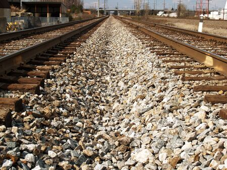 vanishing: Vanishing Point Railroad Tracks Stock Photo