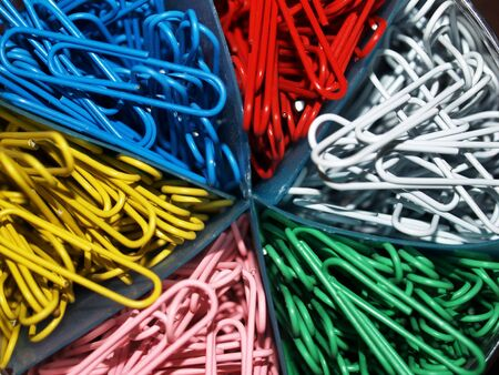 metal fastener: Office Paper Clips in Red Blue Yellow Pink Green and White