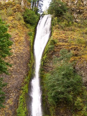 horse tail: Gran cascada de cataratas de cola de caballo en Columbia River Gorge, Oregon Foto de archivo
